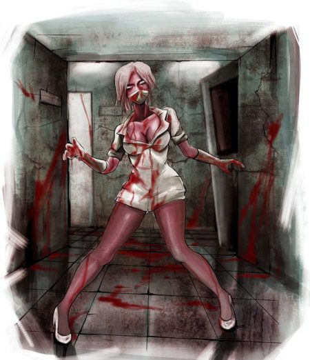 007 sexy zombie nurse art horror monster illustration c