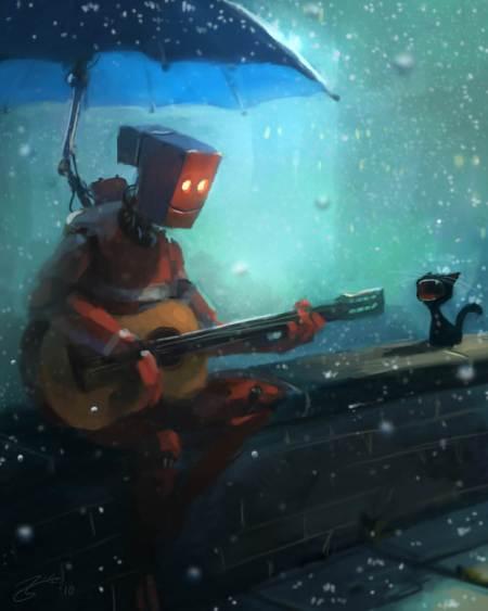 robot-guitar-cat-yowling-rain-umbrella-funny-photoshop-painting-digital-art-humor-cute-character