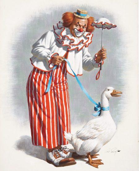 arthur-saron-sarnoff-clown-with-a-goose