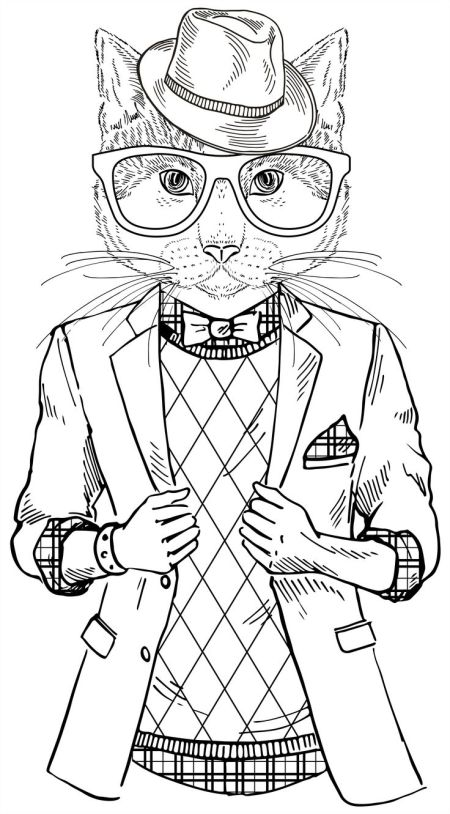 fashion illustration of cat dressed up in hipster style