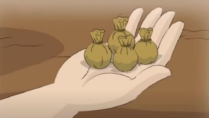Empat bungkusan kecil dalam dongeng Timun Mas