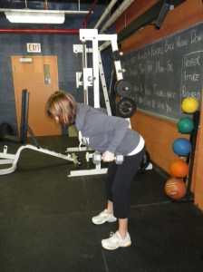Bent over rows ending position
