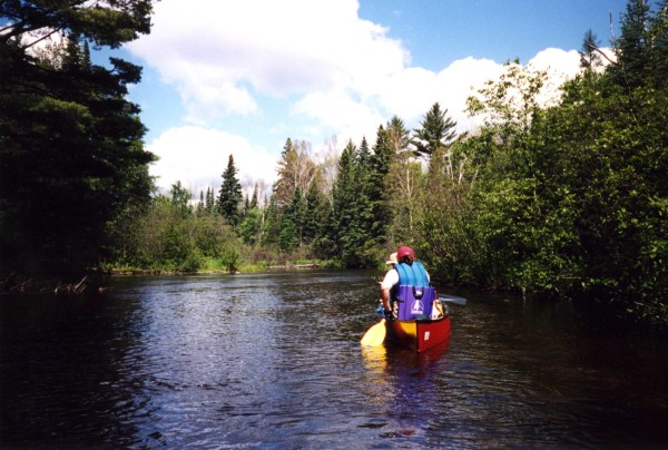 Paddling down the Trout River in northern Wisconsin