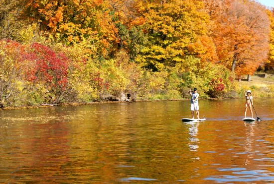 a man and woman stand up paddleboarding in a river in the fall