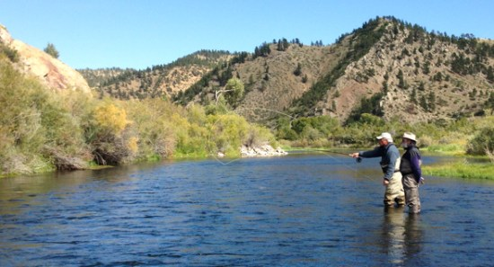 two men fly fishing in Missouri River in Craig Montana