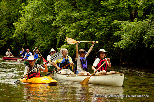Western North Carolina Alliance (WNCA) enjoy a trip down-stream from the French Broad's Headwaters