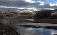 yellowstone river in montana with blue sky