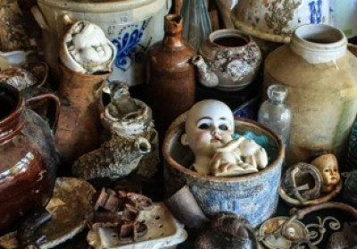 dollheads, vases, artifacts while diving