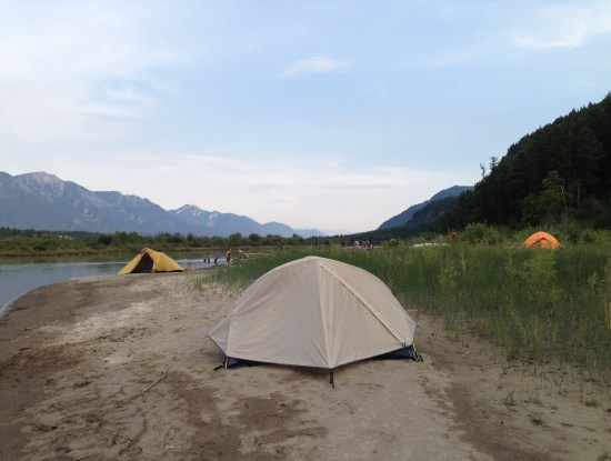 tent camping on the Columbia River, Canada