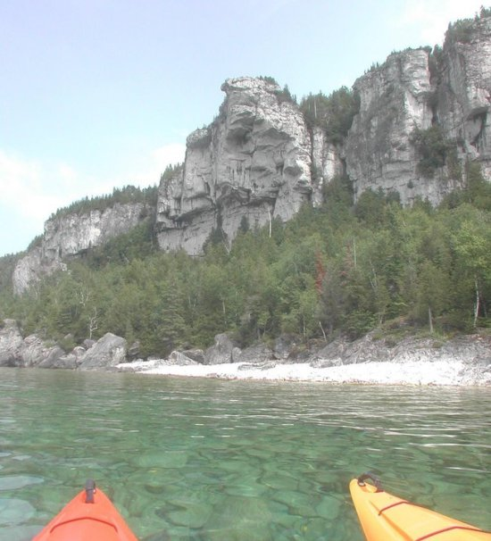 paddling with view of ridge near Lion's Head on Bruce Peninsula