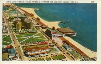 Aerial View of Ocean, Beach Hotels, Boardwalk, and Casino at Asbury Park, NJ