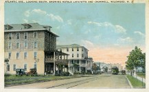Atlantic Avenue Looking South, Showing Hotels Lafayette and Cromwell, Wildwood, NJ 1924