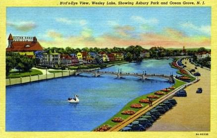 Bird's-Eye View, Wesley Lake, Showing Asbury Park and Ocean Grove, NJ