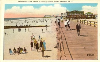 Boardwalk and Beach Looking South, Stone Harbor-NJ