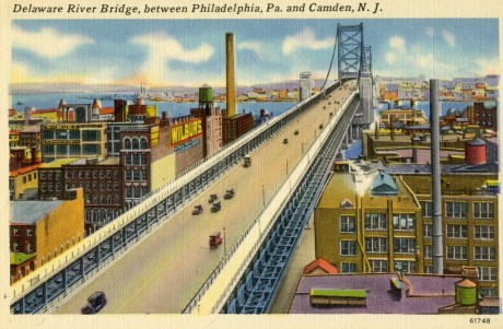 Delaware River Bridge, between Philadelphia, Pa. and Camden, NJ