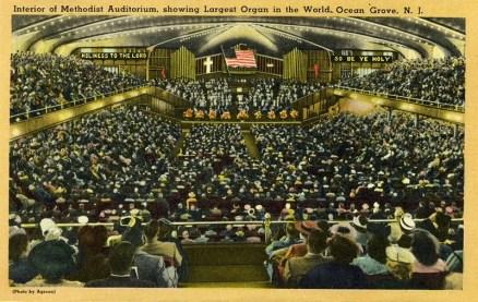 Interior of Methodist Auditorium, showing Largest Organ in the World, Ocean Grove, NJ
