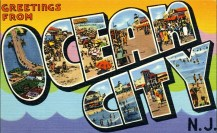 Large Letter Greeting from Ocean City, NJ 1956