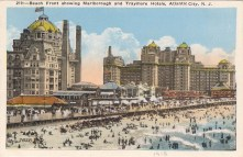 Beach Front Showing Marlborough and Traymore Hptels, Atlantic City, NJ 1918