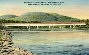 Old Covered Bridge Over Delaware River Near Delaware Water Gap