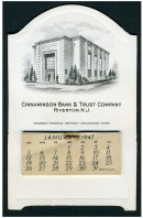 1947 Cinnaminson Bank desk calendar 4-7/8 x 3 inches