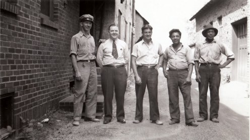 024_1942 employees of JT Evans - L-R: 1 Ed Kriger 2 Jim Kenney 3 Albert Yearly 4 Johnny Armstead 5 unidentified - J.F. Yearly photo