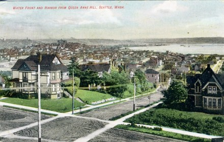 Water Front and Harbor from Queen Anne Hill, Seattle, Wash. 1908