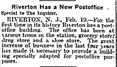 1903-02-20, Philadelphia Inquirer, p 6,New Riverton Post Office