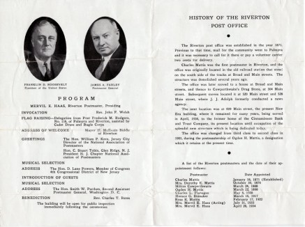 1940 July 4, dedication of Post Office booklet pg2 and 3