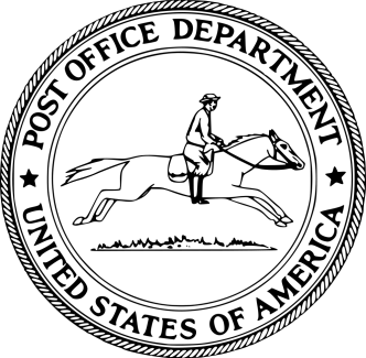 Running pony logo introduced in 1837 and used by the U.S. Post Office Department until the creation of the USPS in 1971.