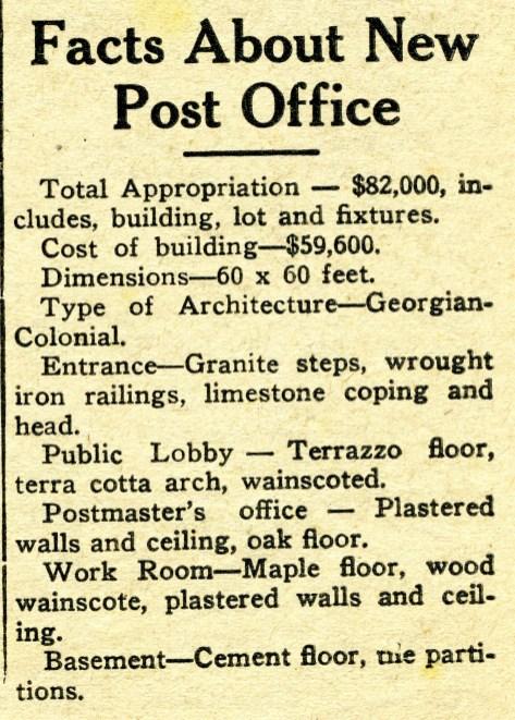 post office facts, (613 Main),New Era July 11, 1940 pg 1