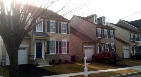 New single-family homes are a rare commodity in a town as developed as Riverton. Lots for these three dwellings at 608, 610, 612 Cinnaminson Street were subdivided from the old post office parking lot. PHOTO CREDIT: John McCormick