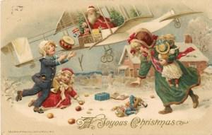 Santa in a bi-plane, John Winsch 1913