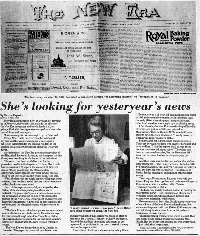 She's looking for yesterday's news, BCT, Feb. 7, 1985