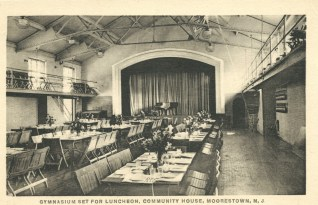 "fig. 10 MCH post card, ""GYMNASIUM SET FOR LUNCHEON"""