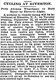 Cycling at Riverton, Philadelphia Inquirer,  September 17, 1894, Page 3