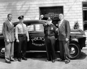 Jack Hutton (left) and Clyde Hutton owned Hutton Chevrolet in Riverside, 1949-1969