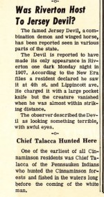 Jersey Devil sighting, 1907 reprint -1965 75th Anniv. edition of the New Era