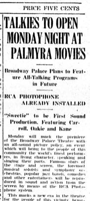 Talkies at Broadway Theater, The New Era, Jan. 9, 1930