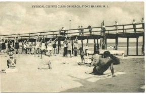 Physical culture class on beach, Stone Harbor, NJ