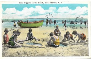 Sand diggers on the beach, Stone Harbor, NJ