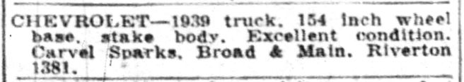 Carvel Sparks' first Riverton auto ad Courier-Post, Feb 4, 1944, p25