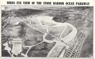 South Jersey Realty Company advertising reply post card showing artist's rendering of aerial view of Stone Harbor Ocean Parkway with mainland on the left and Stone Harbor and the ocean on the right connected by vehicular causeway