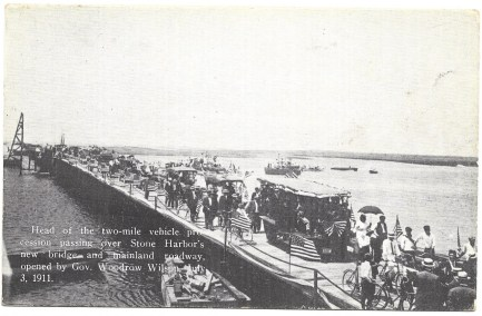 New Bridge and mainland roadway opened by Gov. Woodrow Wilson, July 3, 1911