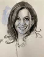 Kamala Harris, Madam Vice President of the United States, watercolor sketchbook page 2020