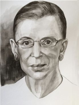 Ruth Bader Ginsberg, Supreme Court Justice, black watercolor 2016