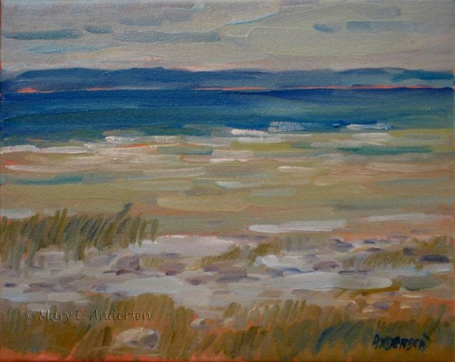 Rocky Beach, Old Mission Peninsula. Oil on canvas. 9x12. 2014.