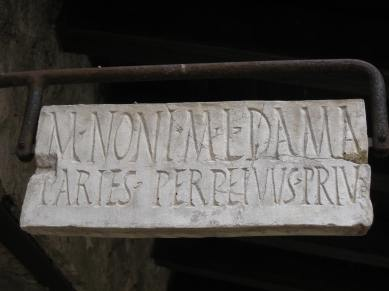 This is the wall of Marcus Nonius Dama, the freedman of Marcus, private and in perpetuity.
