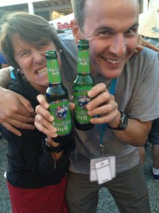 Drinking Fucking Hell beer with David, @ the Eurobike party.
