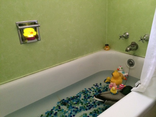 Weird, but true... the Devil duckie watches over the Duckpond in the Markleeville bathroom...