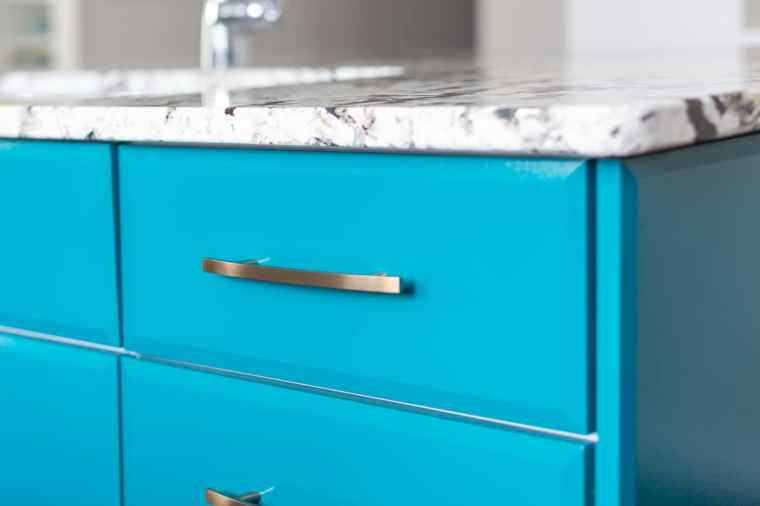 blue cabinetry detail